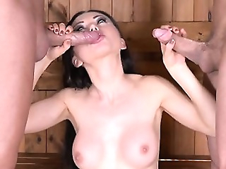 Hot pornstar threesome and cum in mouth anal big boobs blowjob